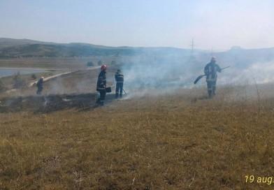 Incendiu de vegetație uscată la Șerbotești
